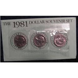 775. 1981 P, D & S Susan B. Anthony Dollar Sets, as Isued by the US Mint.
