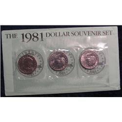776. 1981 P, D & S Susan B. Anthony Dollar Sets, as Isued by the US Mint.