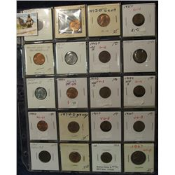 788. (20) U.S. Cents in a Plastic coin page dating back to 1875.