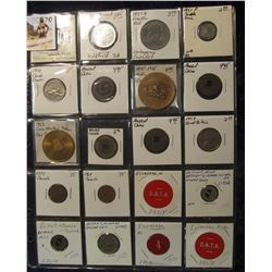 790. (20) Different Foreign Coins, Tokens, & Medals in a plastic coin page. One is Silver, another d
