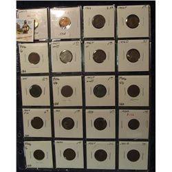791. (20) U.S. Cents in a Plastic coin page dating back to 1885. Includes a 1900, several 1906, 09,