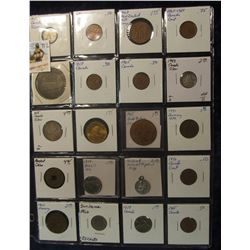792. (20) Different Foreign Coins, Tokens, & Medals in a plastic coin page. Includes some Silver, an
