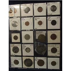 793. (20) Different Foreign Coins, Tokens, & Medals in a plastic coin page. One is Silver, another d