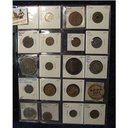 794. (20) Different Foreign Coins, Tokens, & Medals in a plastic coin page. One dates back to Ancien