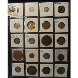 795. (20) Different Foreign Coins, Tokens, & Medals in a plastic coin page. One dates back to Ancien