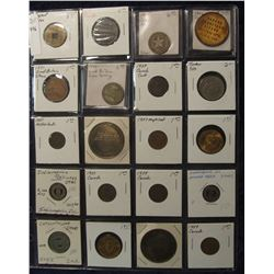 796. (20) Different Foreign Coins, Tokens, & Medals in a plastic coin page. One dates back to Ancien