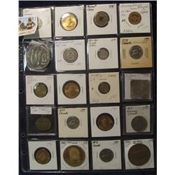 797. (20) Different Foreign Coins, Tokens, & Medals in a plastic coin page. One dates back to Ancien