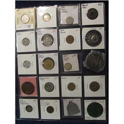 798. (20) Different Foreign Coins, Tokens, & Medals in a plastic coin page. One dates back to Ancien