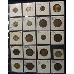 799. (20) Different Foreign Coins, Tokens, & Medals in a plastic coin page. One dates back to Ancien