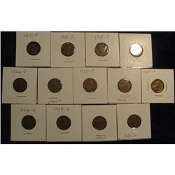 "802. 1917P, 18P, (2) 19P, (2) 20P, 23P, 28P, (2) D, (2) 29P, & 64P Lincoln Cents in 2"" x 2"" holders"