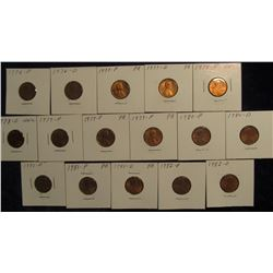 "805. 1976P, D, 77P, D, 78P, D, (3) 79P, 80P, D, (2) 81P, D, 82P, D Lincoln Cents in 2"" x 2"" holders"