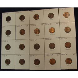 "806. (20) Lincoln Cents in 2"" x 2"" holders 1969-1975 Most BU and ready to price to sell."