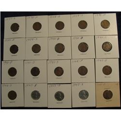 807. 1937S, 38P, D, S, 39P, D, S, 40P, D, S, 41P, D, S, 42P, D, S, 43P, D, S, & 44P Lincoln Cents in