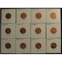"808. (12) Lincoln Cents 1996-2001 in 2"" x 2"" holders and ready to price to sell."