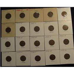 "809. (20) Lincoln Cents 1944D-1950S in 2"" x 2"" holders and ready to price to sell."