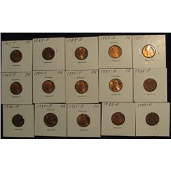 "810. (15) Lincoln Cents 1983-88 in 2"" x 2"" holders and ready to price to sell."