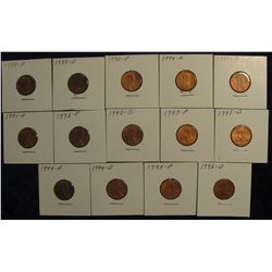 "811. (14)1989-1995 Lincoln Cents in 2"" x 2"" holders and ready to price to sell."