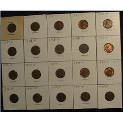 "812. (20) 1951-58 Lincoln Cents in 2"" x 2"" holders and ready to price to sell."