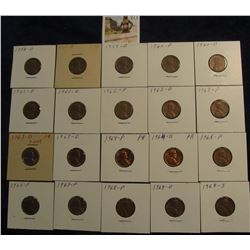 "813. (20) Lincoln Cents 1958-68S in 2"" x 2"" holders and ready to price to sell."