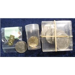 818. John Quincy Adams Presidential Dollar in plastic tube, BU; (7) Eisenhower Dollars in a plastic
