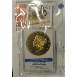 819. 1849 Liberty Head Double Eagle Reolica slabbed by American Mint. Layered in 24K Gold.