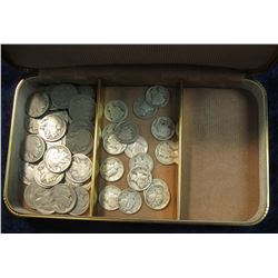 844. Small Jewelry Box with (31) Buffalo Nickels & (16) Mercury Dimes.