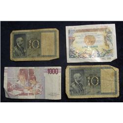 847. October 3rd, 1990 1000 Lire Italian Bank Note; (2) 1936 Italy 10 Lire Bank Notes; and a 1996 12