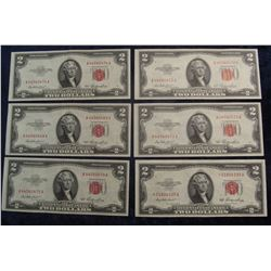 "853. (6) Series 1953 Two Dollar U.S. Notes. ""Red Seals"", One is a Rare ""Star"" Replacement note. EF-A"