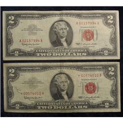 "854. (2) Series 1963 Two Dollar U.S. Notes. ""Red Seals"", One is a Rare ""Star"" Replacement note. VF &"