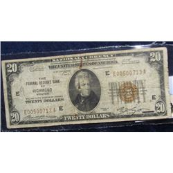 "858. Series 1929 $20 ""National Currency The Federal Reserve Bank of Richmond Virginia"", VG."