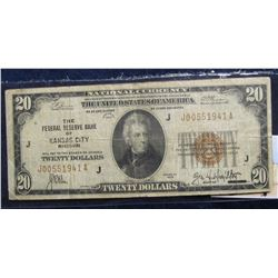 "859. Series 1929 $20 ""National Currency The Federal Reserve Bank of Kansas City, Missouri"", VG."