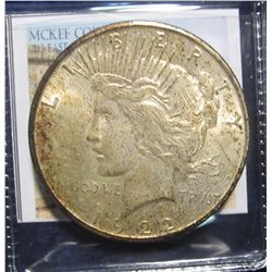 864. 1922 S Peace Silver Dollar. Fully toned Brilliant Uncirculated.