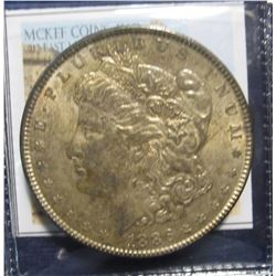 868. 1886 P Morgan Silver Dollar. Full Superbly toned Almost Uncirculated.