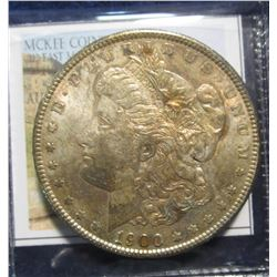 870. 1900 P Morgan Silver Dollar. Full Superbly toned Almost Uncirculated.