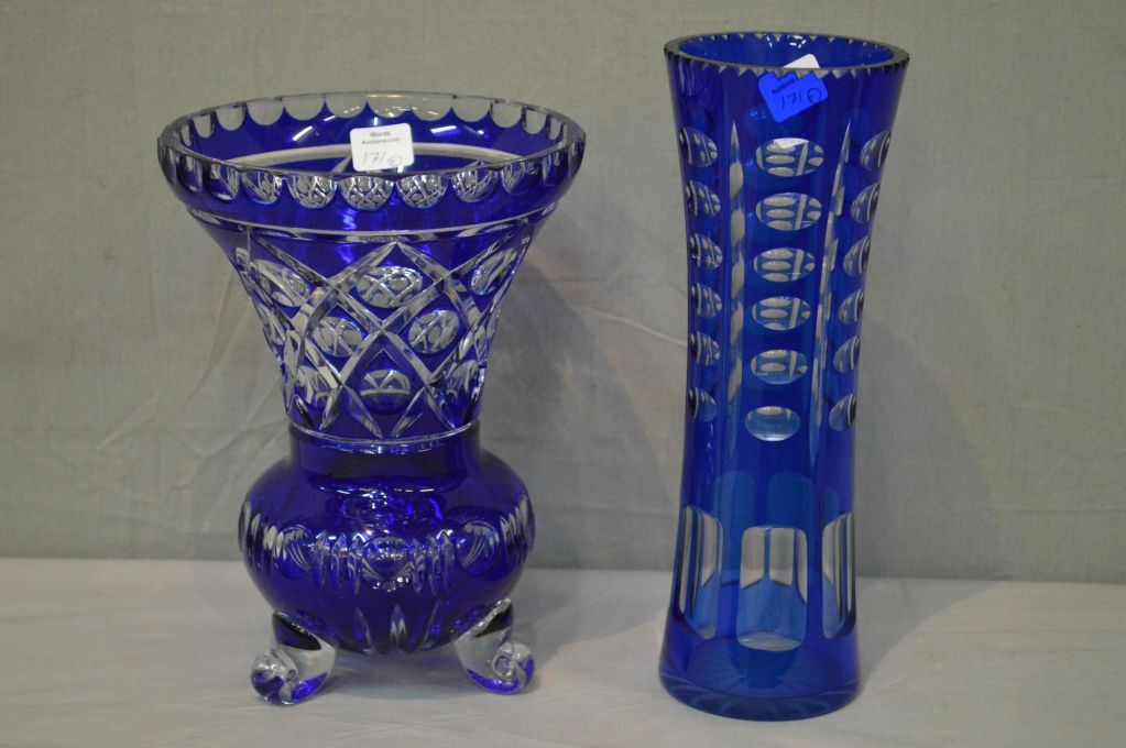 Two Crystal Cobalt Cut To Clear Flower Vases Including 10 Cylinder