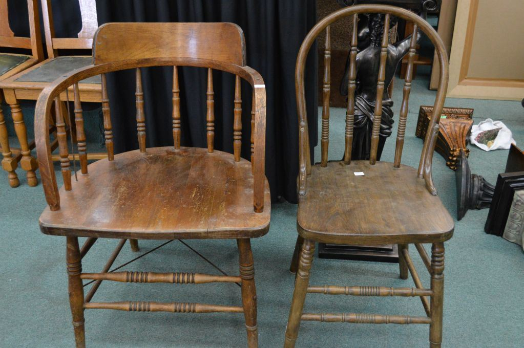 Image 1 : Two vintage wooden chairs including CNR captain's style chair ... - Two Vintage Wooden Chairs Including CNR Captain's Style Chair