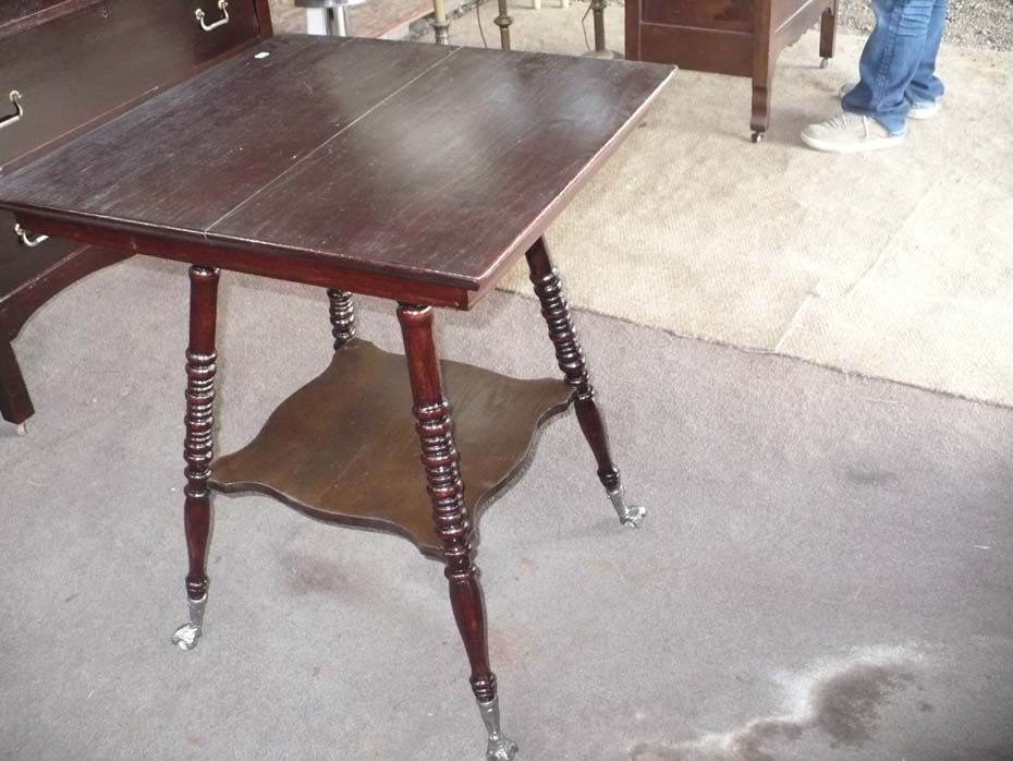 Image 1 : Square Wooden Table W/Eagle Claw Glassball Foot
