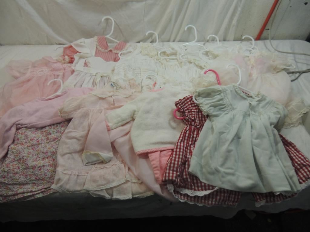 box lot assorted vintage clothing child doll