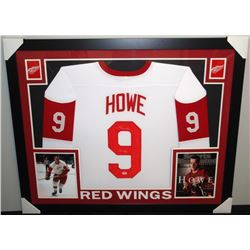 009566969 Gordie Howe Signed Red Wings 35x43 Custom Framed Career Highlight Stat Jersey  Inscribed