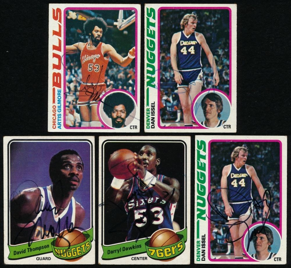 Lot of 14 Signed Basketball Cards With Julius Erving Moses