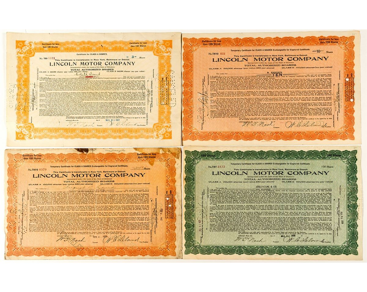 lincoln motor company stock certificates holabird