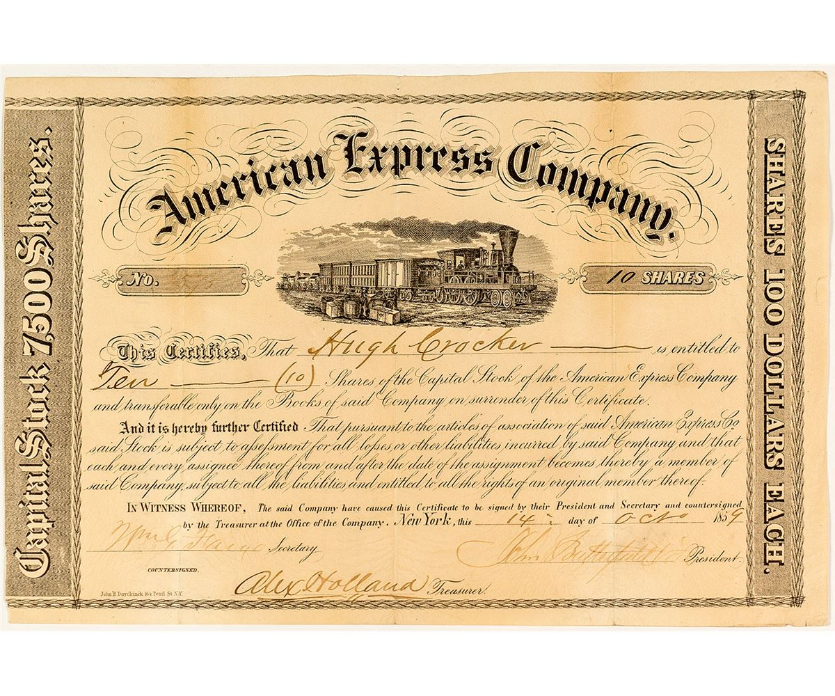 American Express Company Stock Certificate (Butterfield ... American Express Netherlands