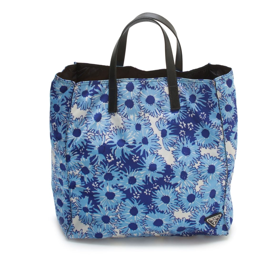 Prada Blue Floral Nylon Tote Bag