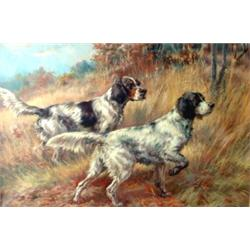 Edmund H. Osthaus. Two Setters in a landscape. Oil on canvas, signed Edm. H. Osthaus in lower rig...