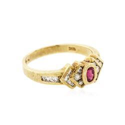 0.15ctw Ruby and Diamond Ring - 14KT Yellow gold