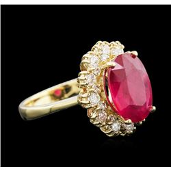 5.37ctw Ruby and Diamond Ring - 14KT Yellow Gold