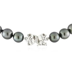 Tahitian Cultured Pearl Necklace with 14KT White Gold Diamond Clasp