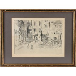 Courtyard Venice by Lionel Barrymore Cintage Talio-Chrome Etching