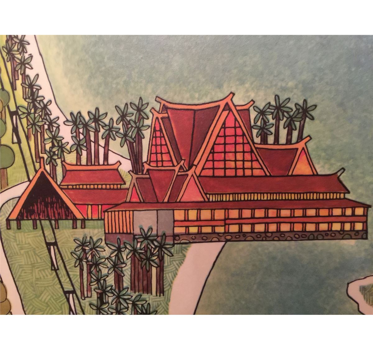 ... Image 3 : RARE ORIGINAL 1971 WALT DISNEY WORLD MAP WALL ART FROM  POLYNESIAN HOTEL ...