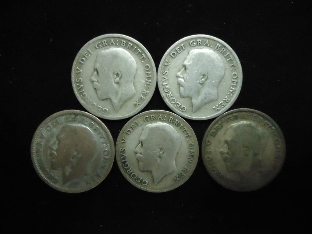 5 Assorted Great Britain Silver 6 Pence